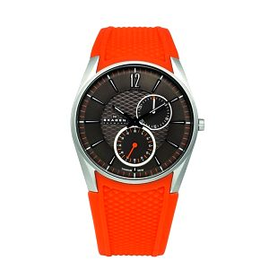 Dámské oranžové hodinky Skagen se silikonovým řemínkem