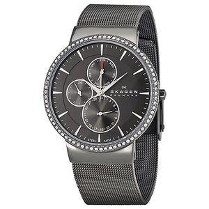 Dámské černé ocelové hodinky Skagen s krystaly
