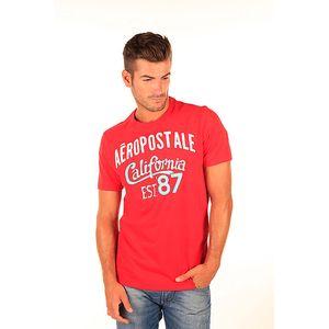 Pánské červené tričko s bílo-modrým nápisem Aéropostale