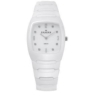 Dámské bílé keramické analogové hodinky Skagen