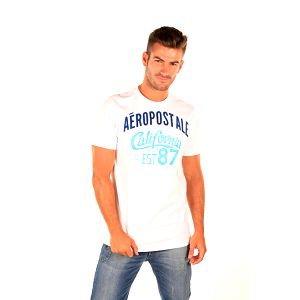 Pánské bílé casual tričko s potiskem Aéropostale