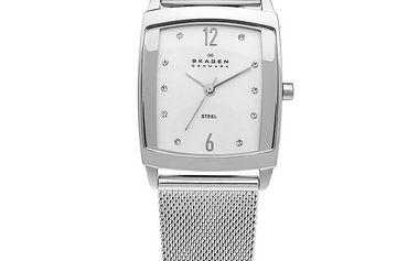 Dámské hranaté ocelové hodinky Skagen