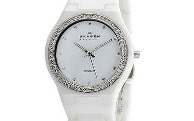 Dámské bílé keramické hodinky Skagen s ciferníkem obloženým krystaly