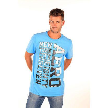 Pánské modré tričko s černo-bílým nápisem Aéropostale