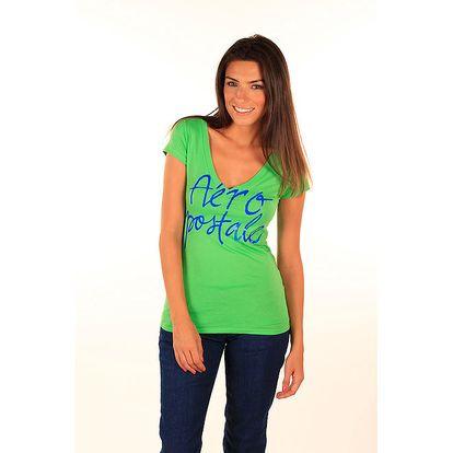 Dámské hráškově zelené tričko s nápisem Aéropostale