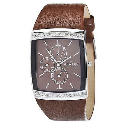 Dámské hranaté hodinky Skagen s hnědým koženým řemínkem