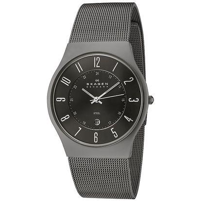 Pánské černé ocelové hodinky Skagen
