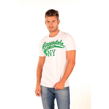 Pánské bílé triko se zeleným potiskem Aéropostale