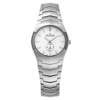 Dámské ocelové hodinky Skagen s bílým ciferníkem
