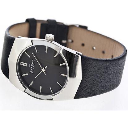Pánské ocelové hodinky Skagen s černým ciferníkem