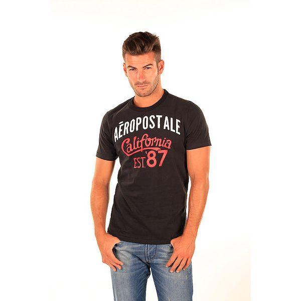 Pánské černé tričko s potiskem Aéropostale