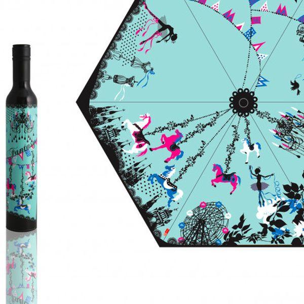 Skládací deštník Kayo Horaguchi, modrý - navrhla japonská ilustrátorka a designérka