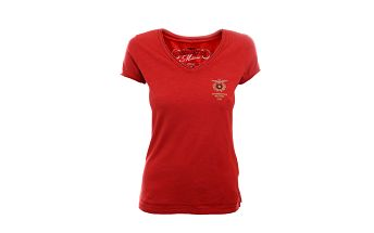 Dámské rudé tričko s výstřihem do V Aeronautica Militare