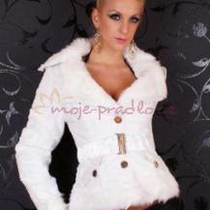 Dámský kabátek Queen o.f. st-bu01wh s kožíškem