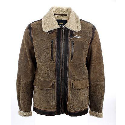 Pánská hnědá kožená bunda s kožešinovým límcem Aeronautica Militare
