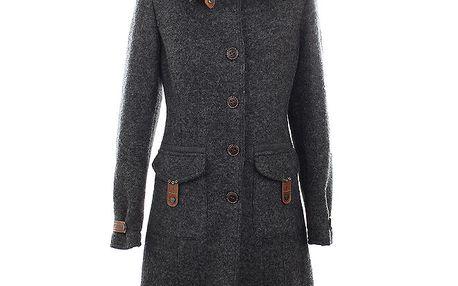 Dámský šedý vlněný kabát s koženými detaily Aeronautica Militare