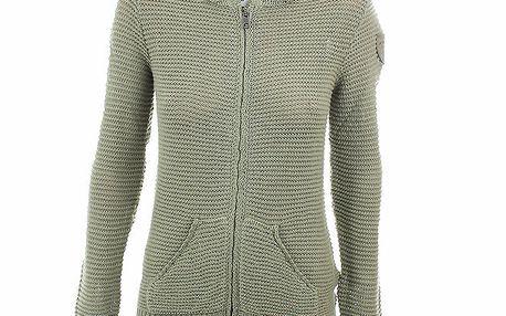 Dámský olivový pletený svetr na zip Aeronautica Militare