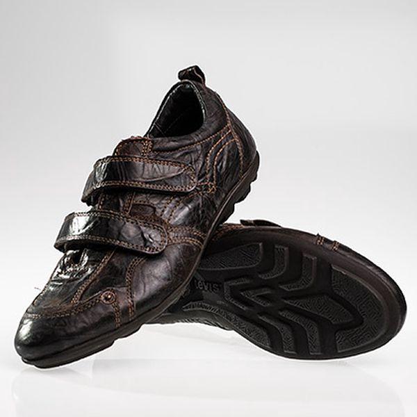 Pánské hnědé kožené boty na suchý zip