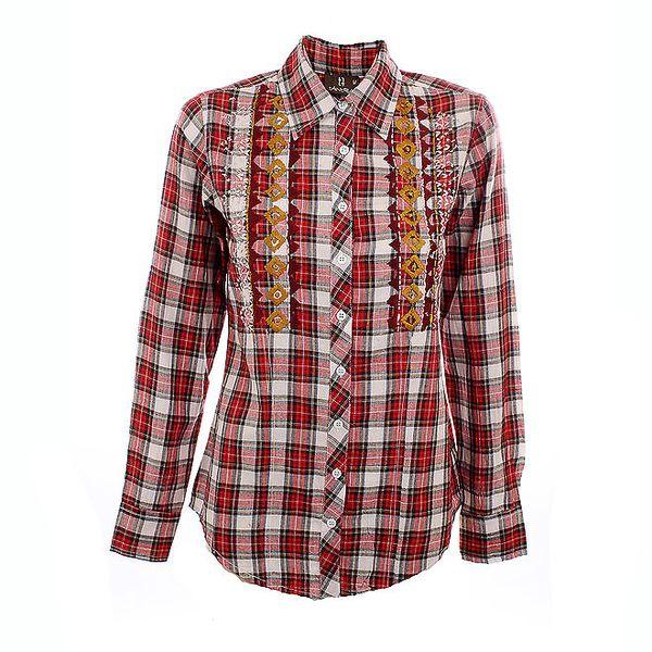 Dámská károvaná červená košile Tantra s okrovým vyšíváním