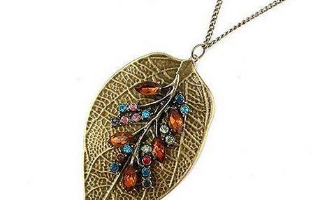 Vintage náhrdelník s přívěskem ve tvaru lístku a poštovné ZDARMA! - 273