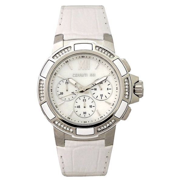 Dámské bílé hodinky s krystaly Cerutti 1881