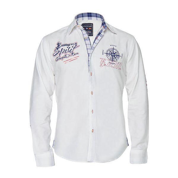 Pánská bílá košile s nášivkami Giorgio di Mare