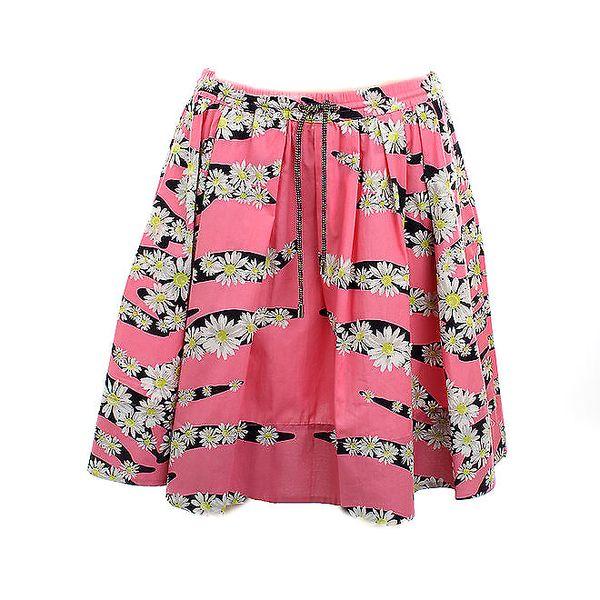 Dámská růžová bavlněná sukně s kvítky Max Mara