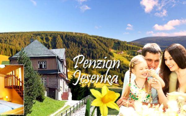 4 DNY s bohatou POLOPENZÍ v penzionu Jesenka jen za 990 Kč! Vyražte na rodinnou dovolenou do Krkonoš! Výhodná poloha v Peci pod Sněžkou! Vouchery platné do 11/2013!