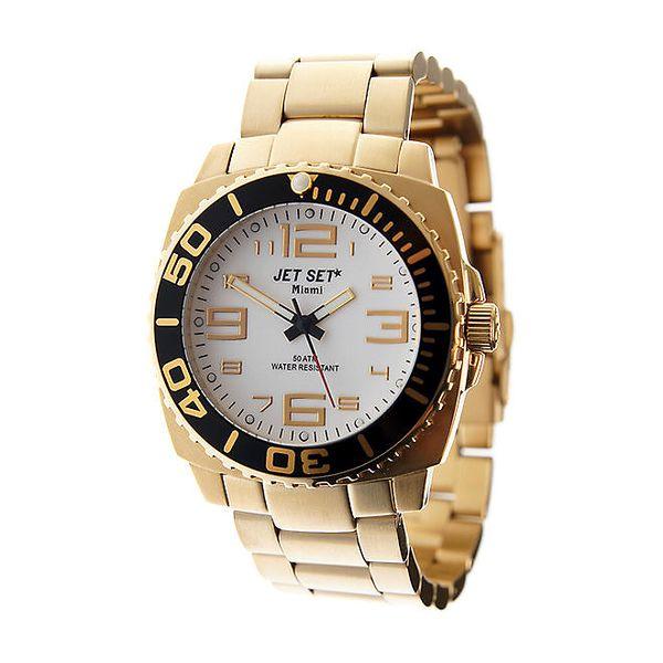 Zlaté hodinky Jet Set s bílým ciferníkem