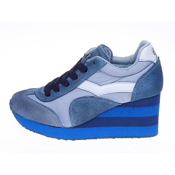 Dámské modré tenisky s pruhovanou platformou GAS