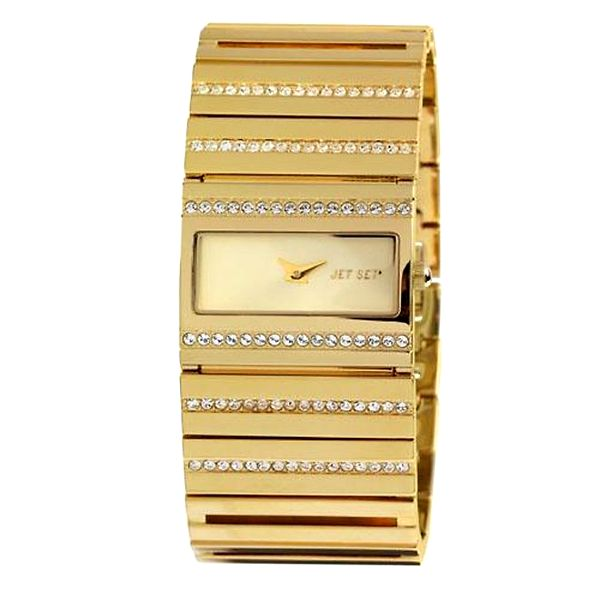 Dámské zlaté analogové hodinky osázené krystaly Jet Set
