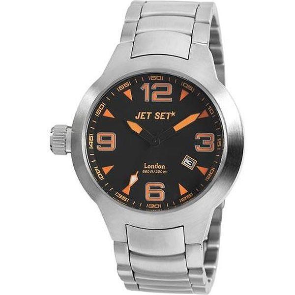 Stříbrné analogové hodinky Jet Set s oranžovými detaily
