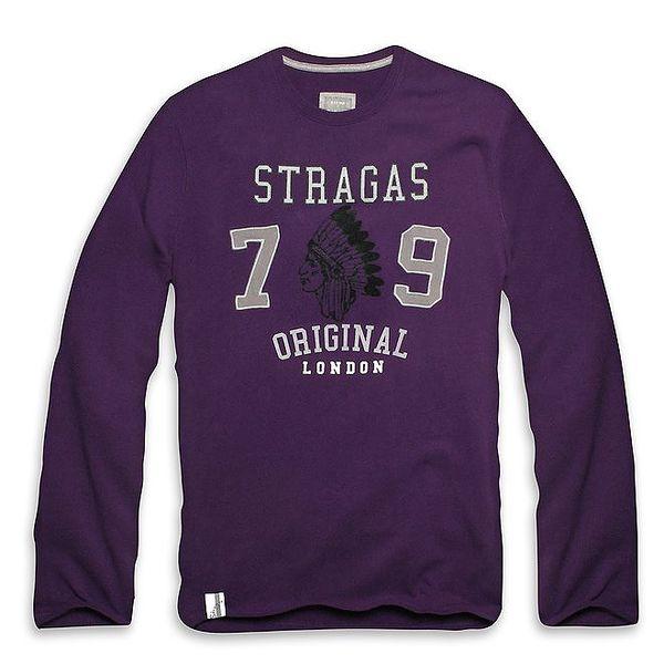 Pánské fialové triko s dlouhým rukávem a indiánem Paul Stragas