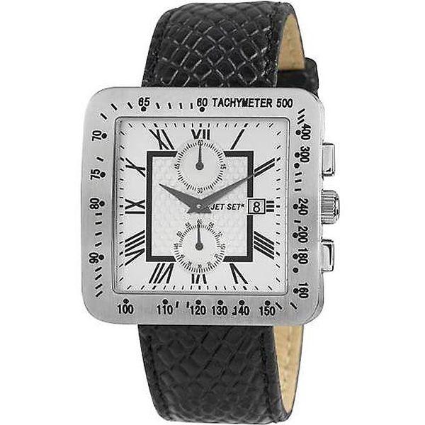 Ocelové hodinky jet Set s koženým řemínkem