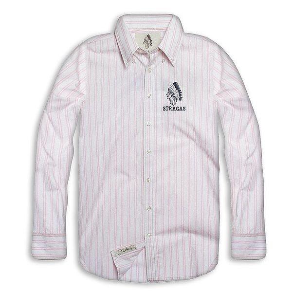Pánská bílo-růžová pruhovaná košile Paul Stragas