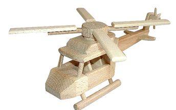 Záchranářská helikoptéra z bukového dřeva speciálně pro malé děti