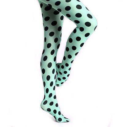 Úžasné modré puntíkované punčocháče od značky Happy Socks