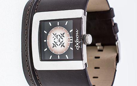 Široké náramkové hodinky Brown Flow