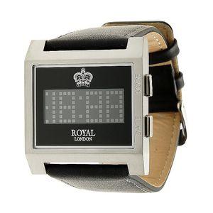 Hranaté černo-stříbrné digitální hodinky Royal London