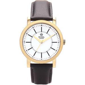 Kulaté zlaté analogové hodinky Royal London