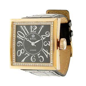 Zlaté ocelové hodinky Royal London s černým koženým řemínkem