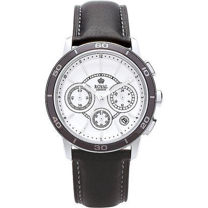 Černo-bílé analogové hodinky s chronografem Royal London