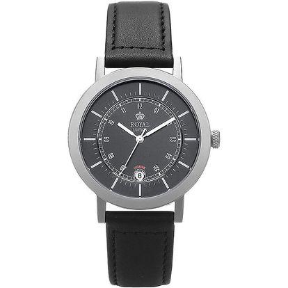 Analogové hodinky s černým ciferníkem a titanovým pouzdrem Royal London