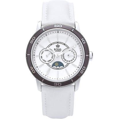 Bílé analogové hodinky s měsíčními fázemi Royal London