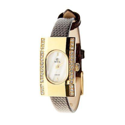 Dámské hnědé hodinky se žlutým řemínkem Royal London