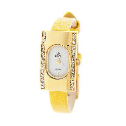 Dámské zlaté hodinky se žlutým řemínkem Royal London