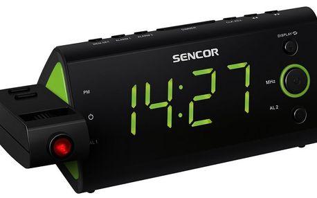 Radiobudík Sencor SRC 330 GN s 3cm displejem, promítáním času, teploměrem a kalendářem