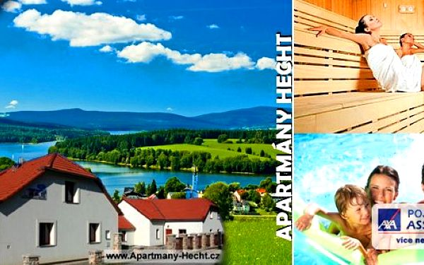 3 dny pro dva na Lipněv útulných apartmánech Hecht s kouzelným výhledem na jezero!! Čeká Vás bohatá polopenze či snídaně, bazén s relaxační zónou, sauna, masáž, výhody LIPNO Card a překrásné scenérie šumavské přírody!! Těšíme se na Vaši návštěvu.