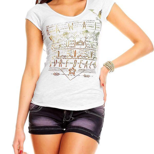 Dámské tričko s výstřihem Hawai bílé s potiskem HS321