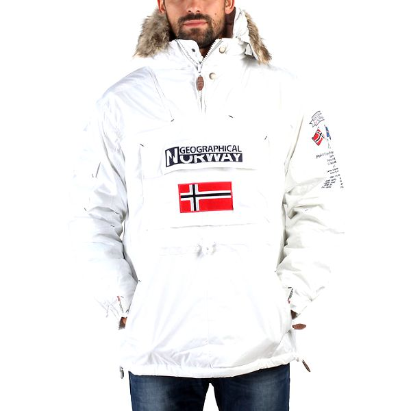 Pánská bílá zimní bunda s kožíškem a norskou vlajkou Geographical Norway